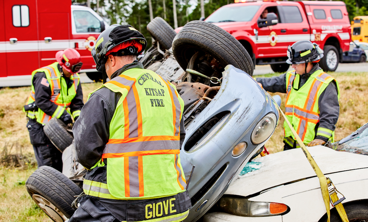 Central Kitsap Firefighters rescuing in an accident